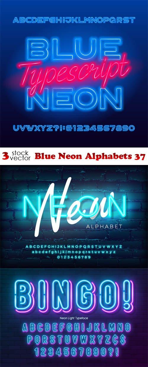 Vectors - Blue Neon Alphabets 37