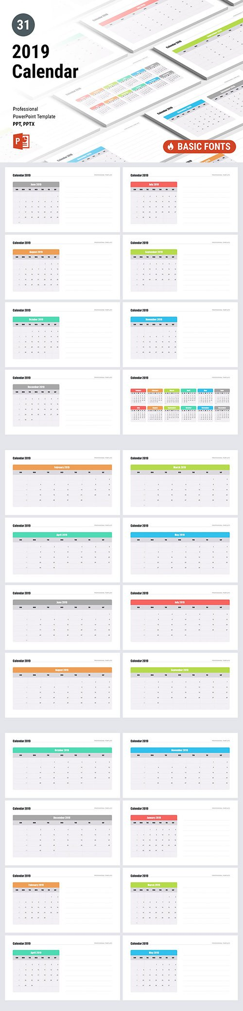 Calendar 2019 for PowerPoint and Keynote