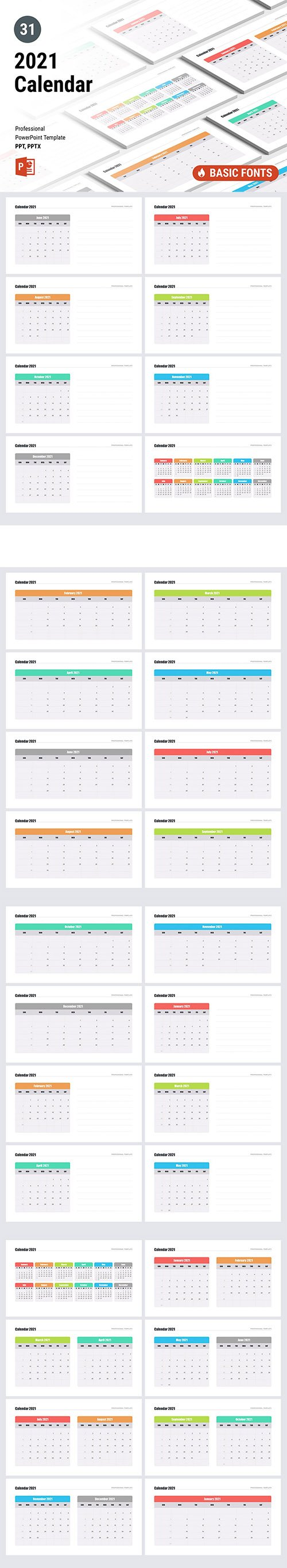 Calendar 2021 for PowerPoint and Keynote