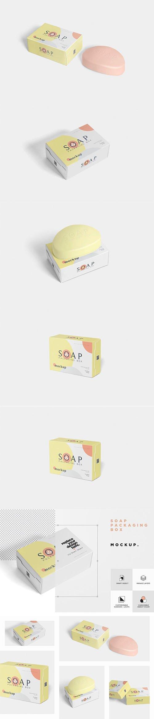 CreativeMarket - Packaging Box & Soap Mockup 3476268