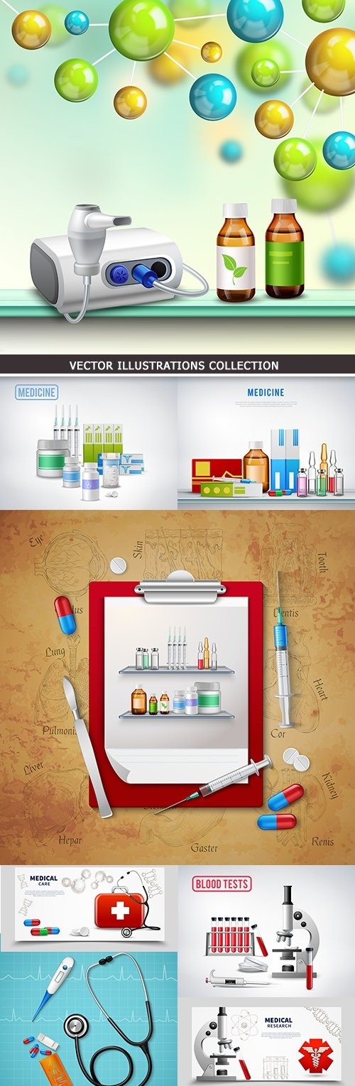 Medicine doctor's tools treatment and diagnostics
