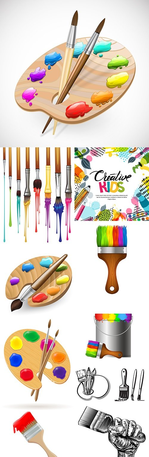 Set drawing young artist palette of paint and brush