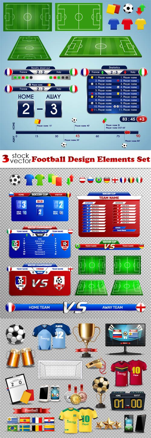 Vectors - Football Design Elements Set