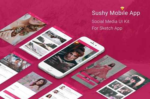 Sushy - Social Media Ui Kit for Sketch App
