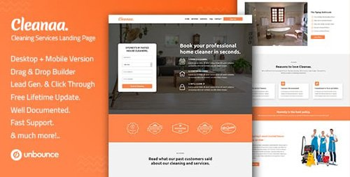 ThemeForest - Cleanaa v1.0 - Cleaning Services Unbounce Landing Page Template - 22918828