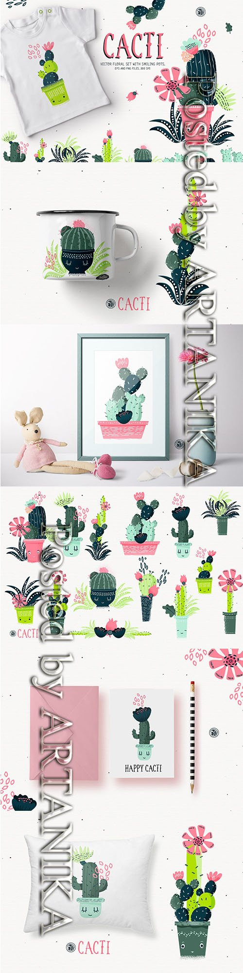 Cacti With Smiling Pots