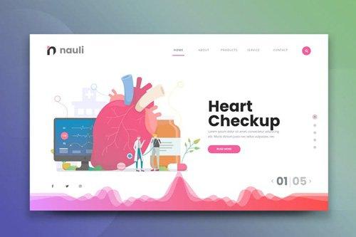 Medical Heart Checkup Web PSD and AI Vector