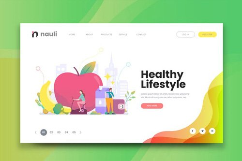 Healthy Lifestyle Web PSD and AI Vector Template