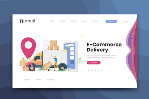 E-commerce Delivery Web PSD and AI Vector Template
