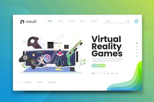 Virtual Reality Games Web PSD and AI Vector