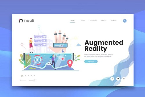 Augmented Reality Web PSD and AI Vector Template