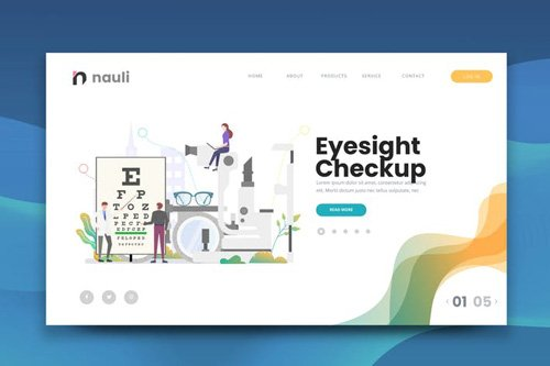 Eyesight Checkup Web PSD and AI Vector Template