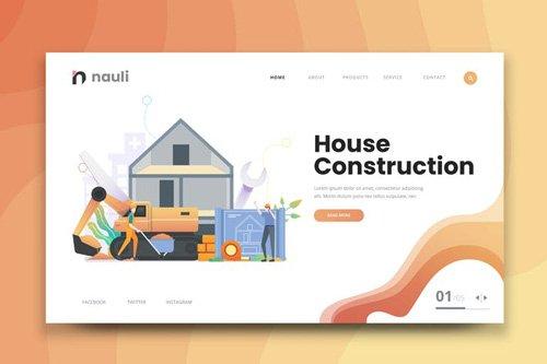 House Construction Web PSD and AI Vector Template