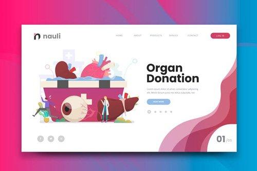 Human Organ Donation Web PSD and AI Vector