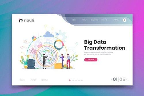 Big Data Transformation Web PSD and AI Vector