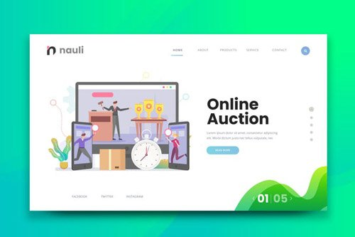 Online Auction Web PSD and AI Vector Template