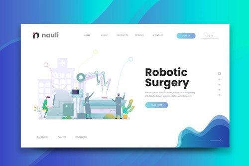 Robotic Surgery Web PSD and AI Vector Template