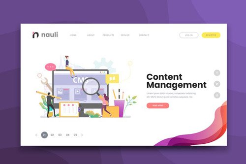 Content Management Web PSD and AI Vector Template
