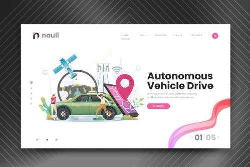 Self Driving Car Web PSD and AI Vector Template