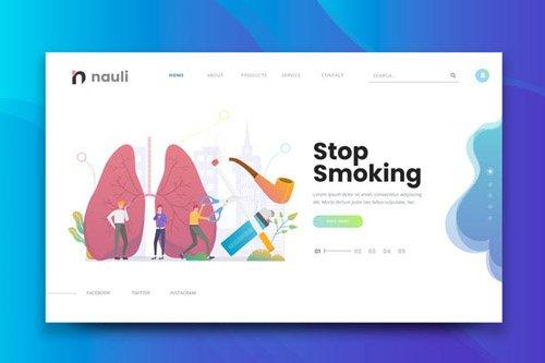 Stop Smoking Web PSD and AI Vector Template