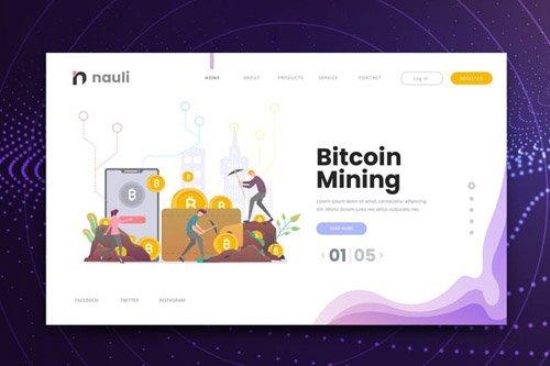 Bitcoin Mining Web PSD and AI Vector Template