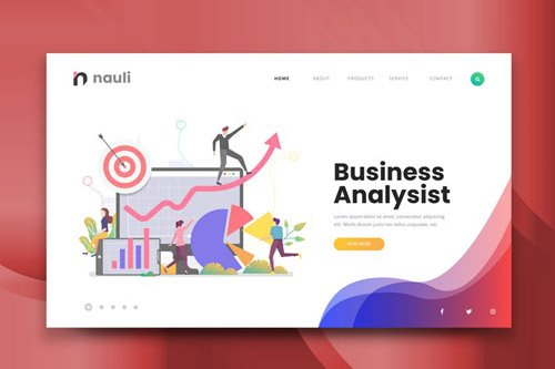 Business Analysist Web PSD and AI Vector Template