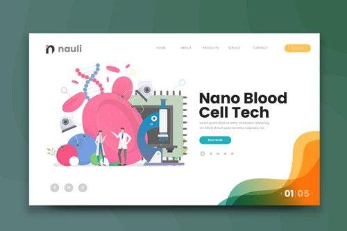 Nano Blood Cell Tech Web PSD and AI Vector Templat