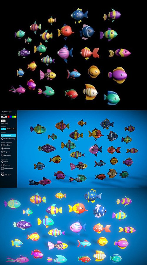 Cartoon Fish Pack 2 Low-poly 3D model