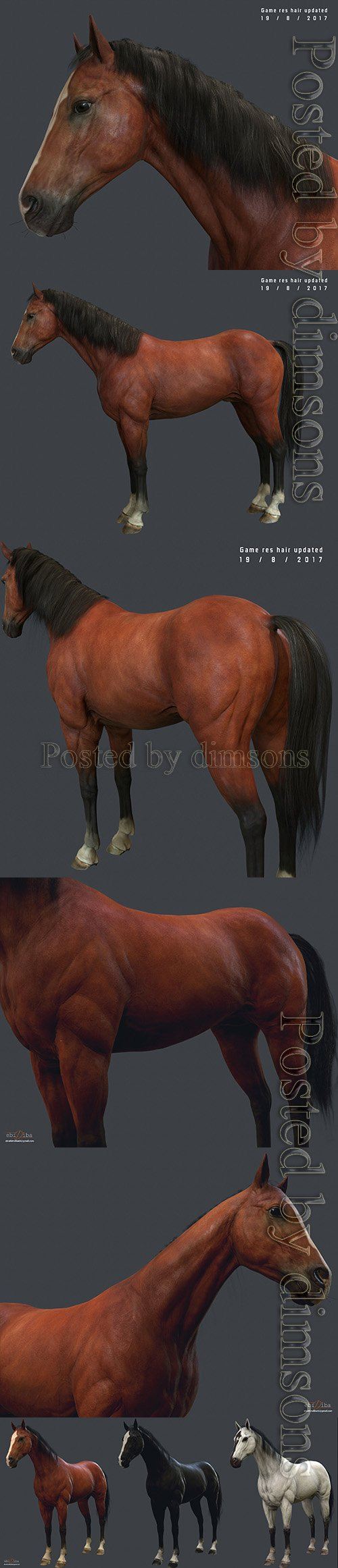 Game Horse up Low-poly 3D model