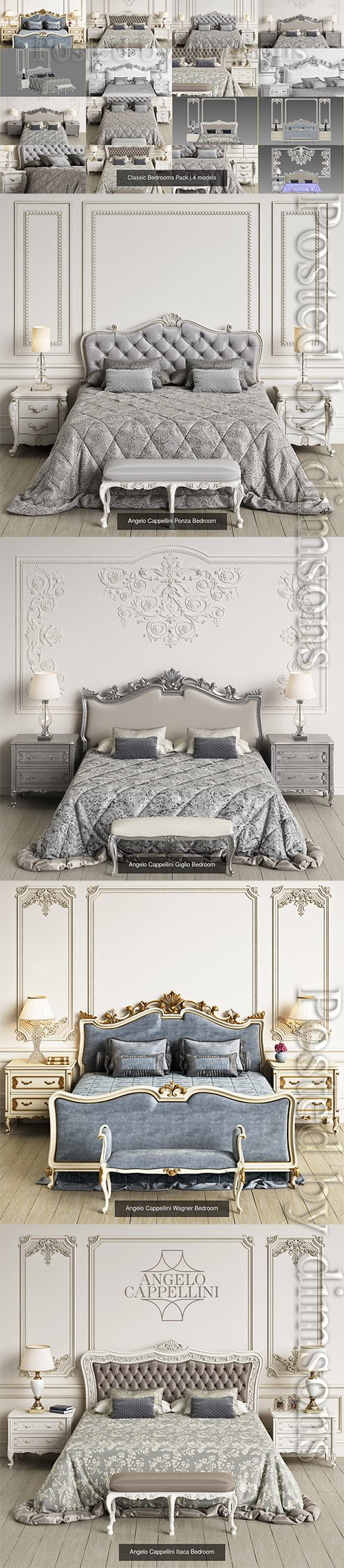 Classic Bedrooms Pack 3D Model Collection