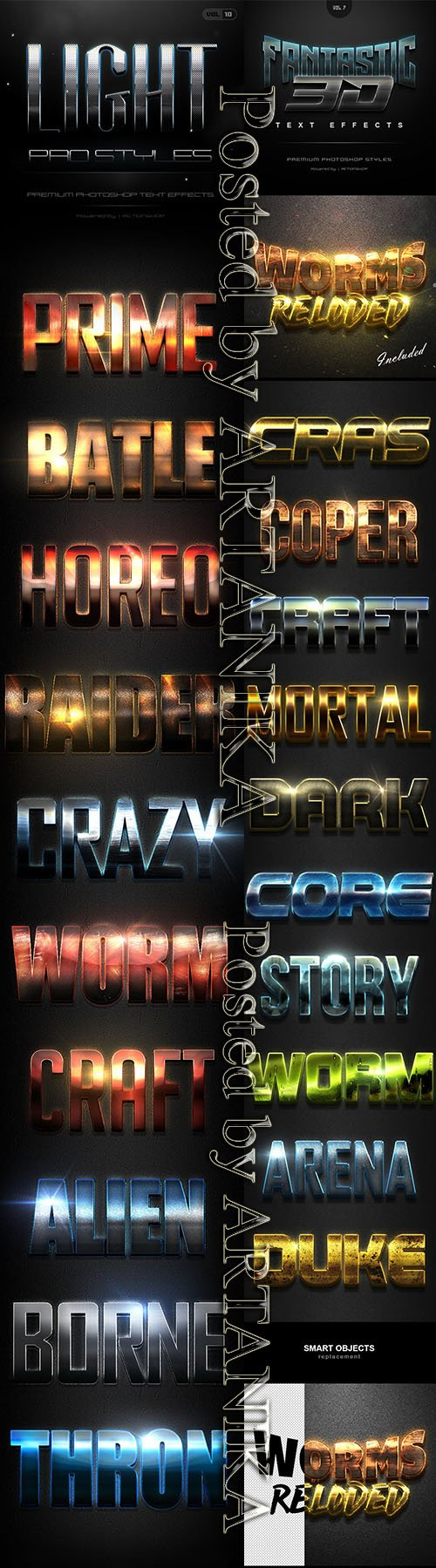 10 Light Pro Styles & Fantastic 3D Text Effects Pack