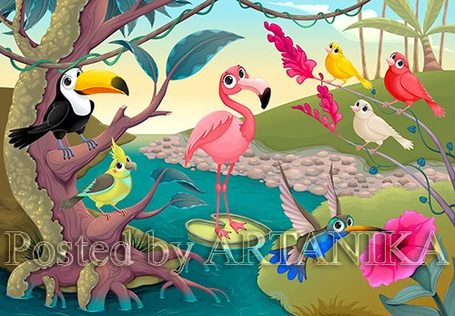 Group of funny tropical birds in the jungle