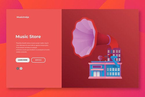 Music Store Web Header Illustration