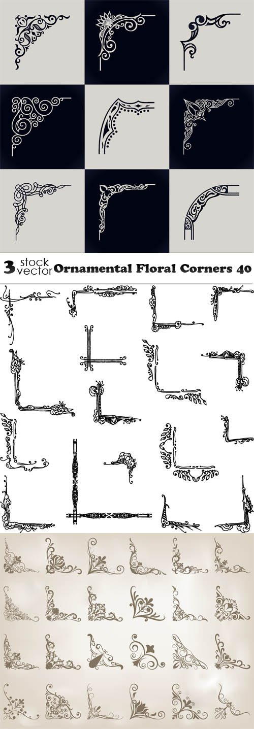 Vectors - Ornamental Floral Corners 40