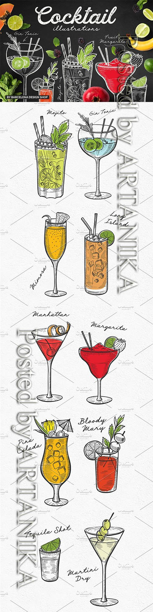 CreativeMarket - Alcohol Cocktails Hand-Drawn Graphic 2313043