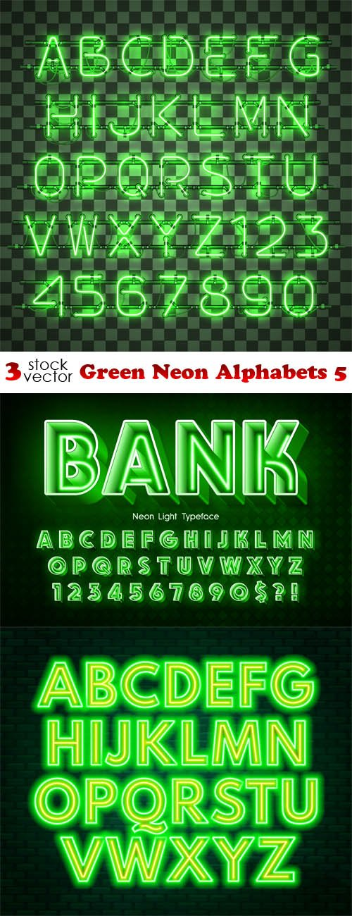 Vectors - Green Neon Alphabets 5