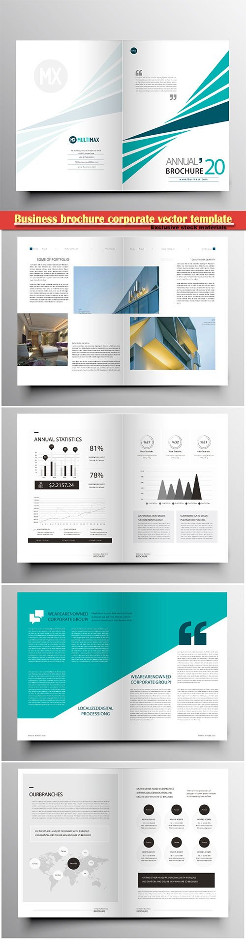 Business brochure corporate vector template, magazine flyer mockup # 47