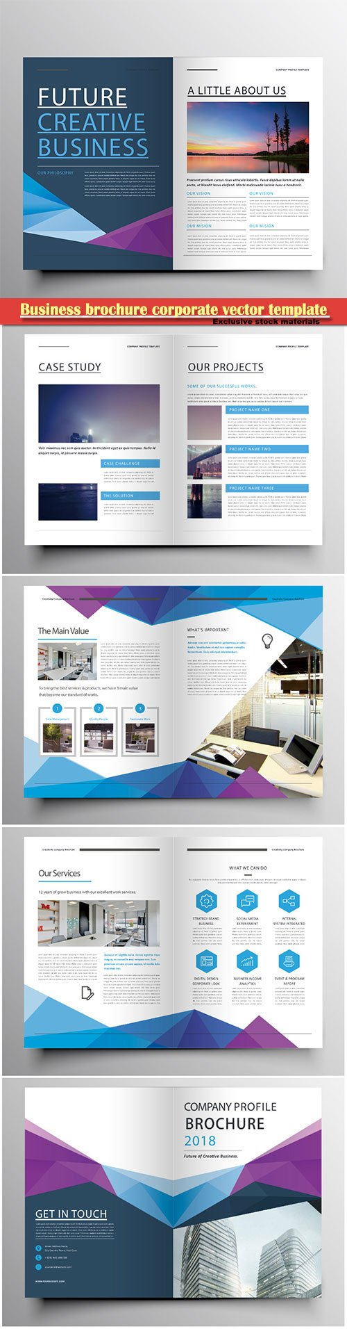 Business brochure corporate vector template, magazine flyer mockup # 46