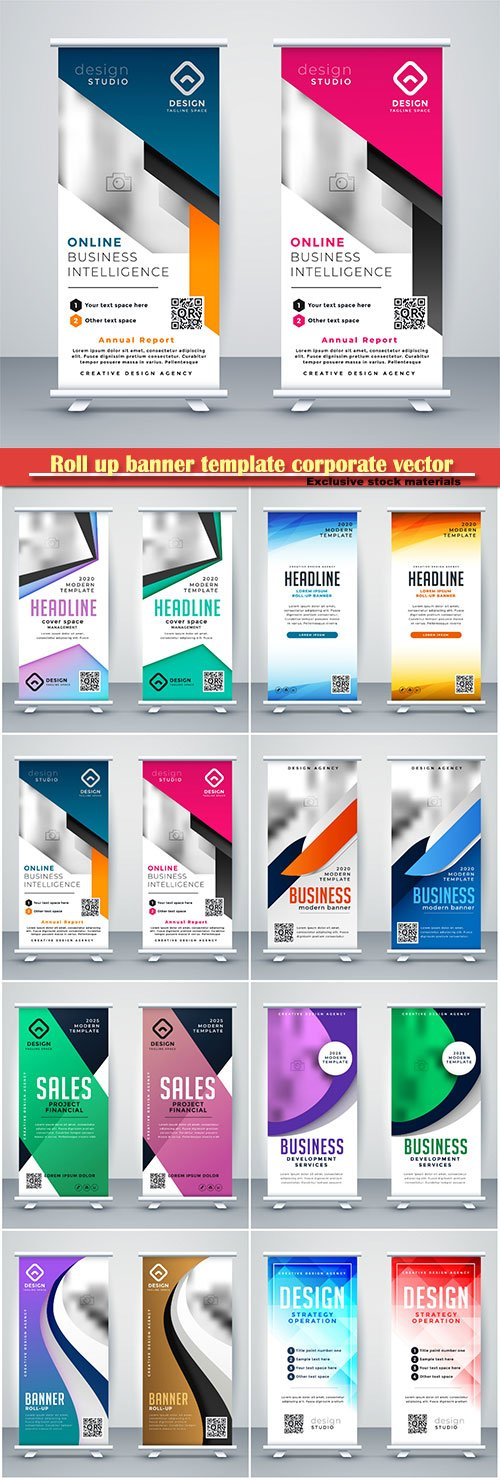 Roll up banner template corporate vector design