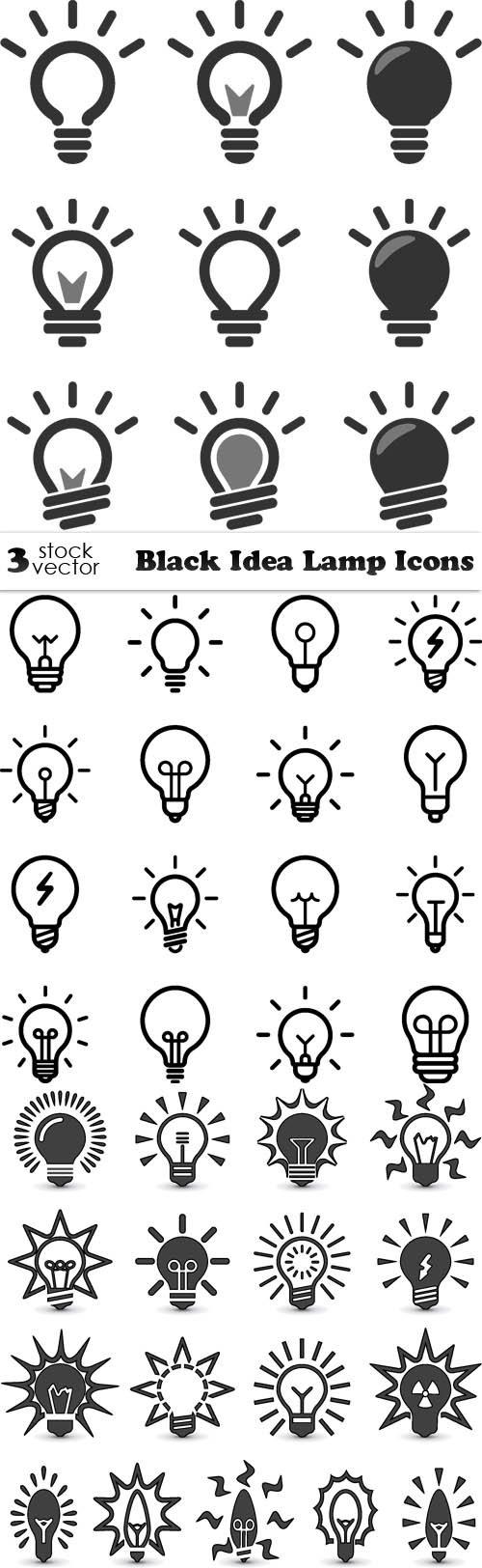 Vectors - Black Idea Lamp Icons