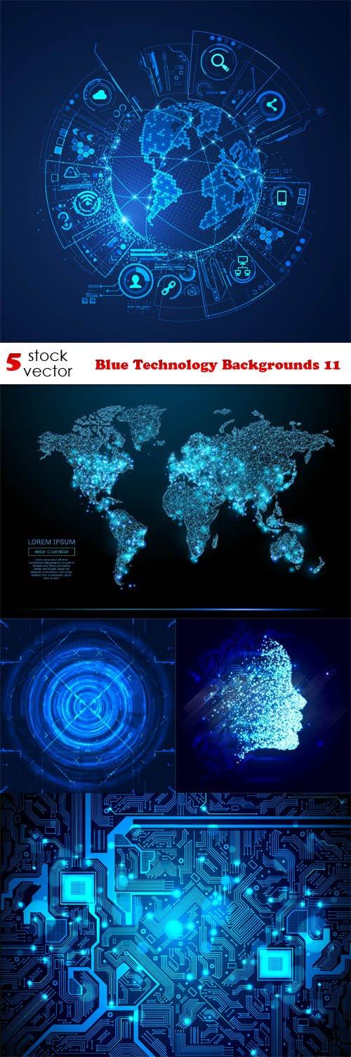 Vectors - Blue Technology Backgrounds 11