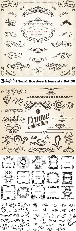 Vectors - Floral Borders Elements Set 78