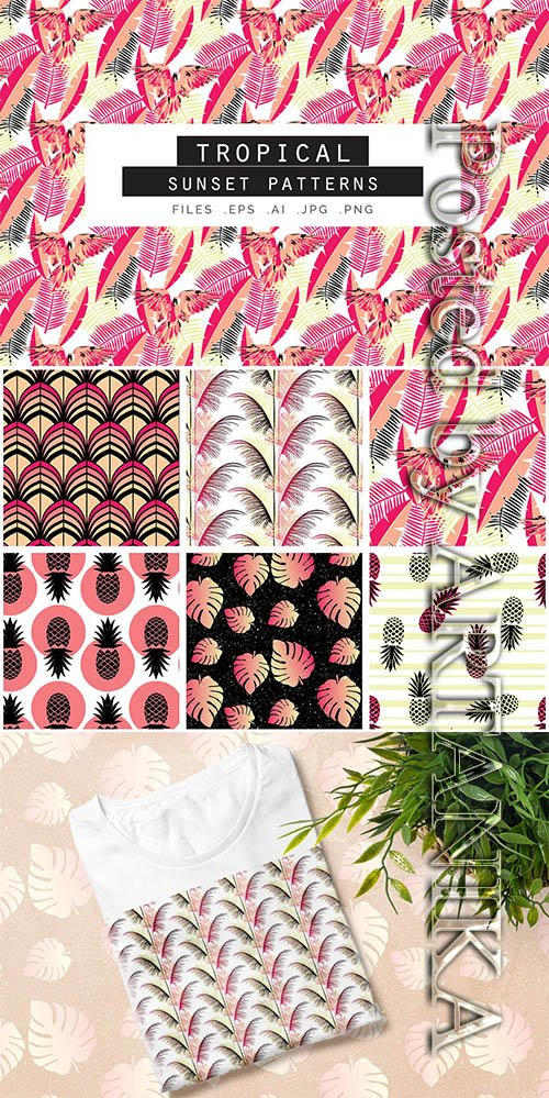 Tropical Sunset Seamless Vector Patterns