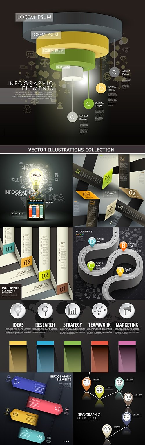 Business infographics options elements collection 41