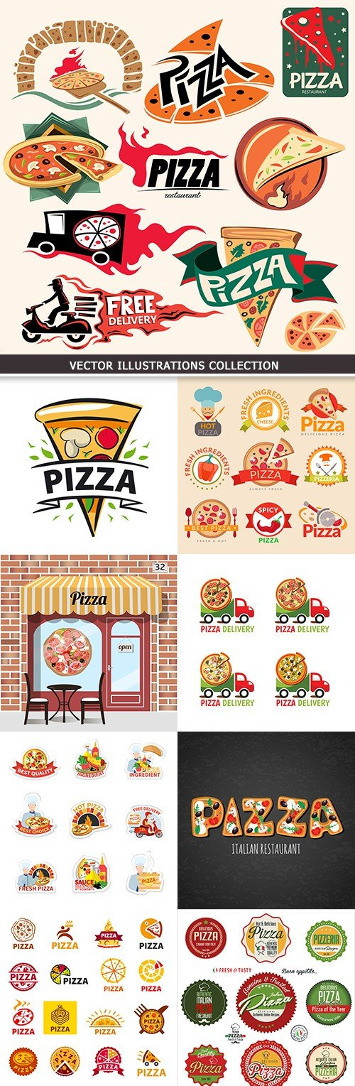 Pizza preparation and delivery design logos