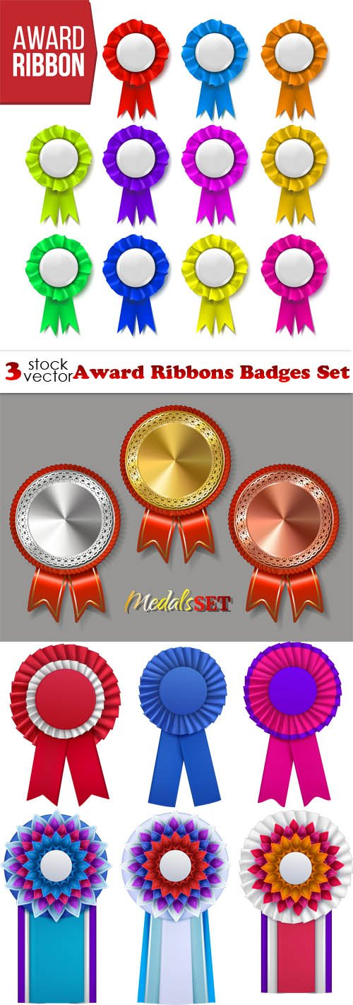 Vectors - Award Ribbons Badges Set