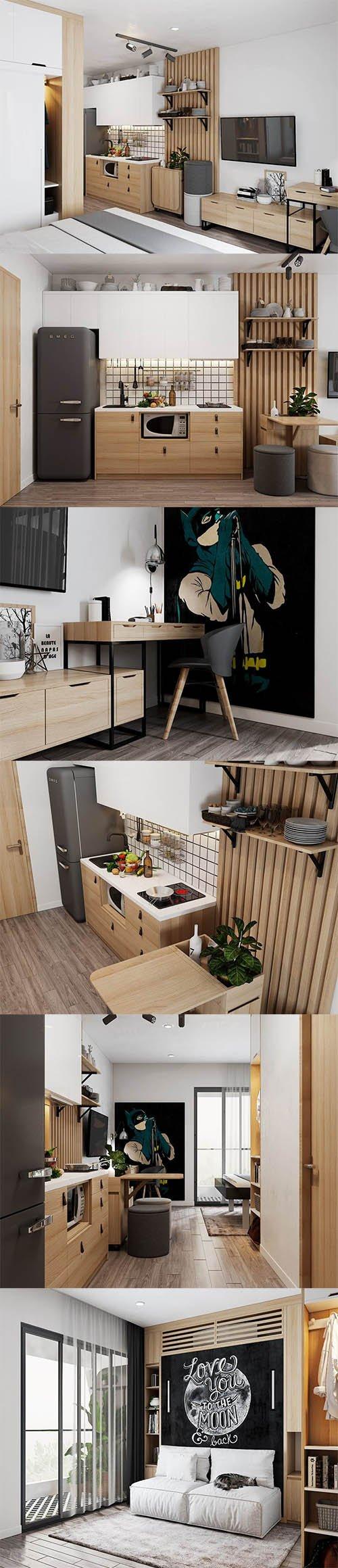 Small Apartment Scandinavian Design 3D model