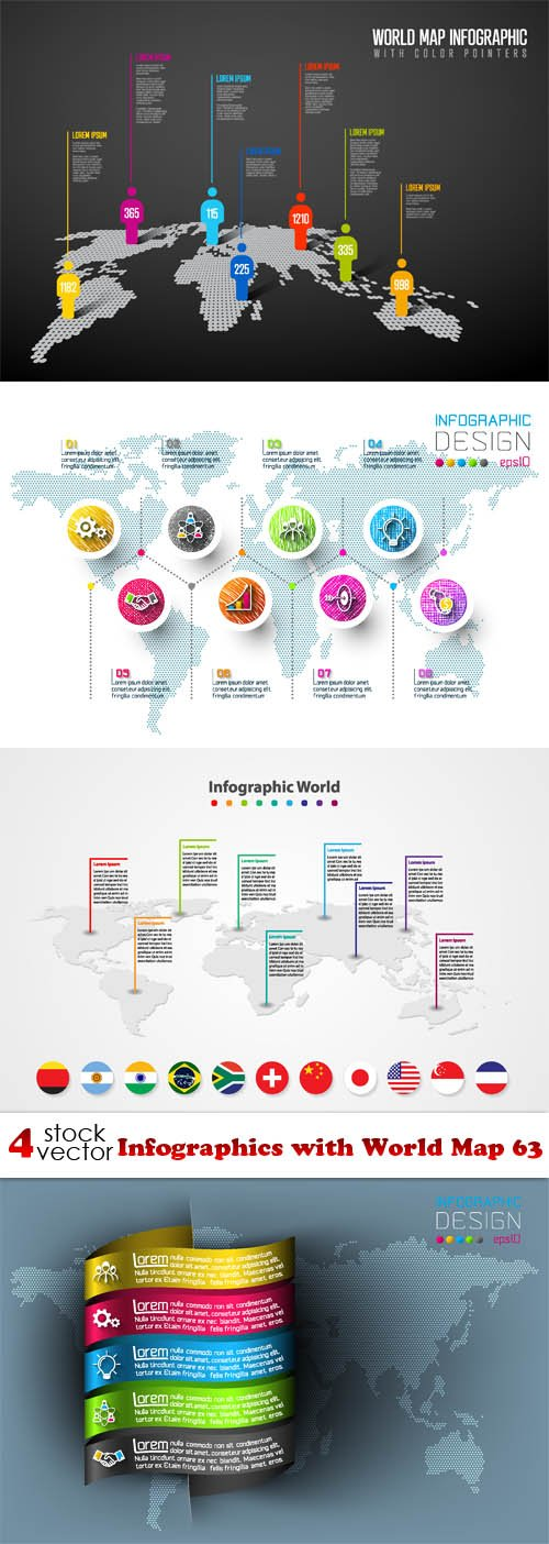 Vectors - Infographics with World Map 63