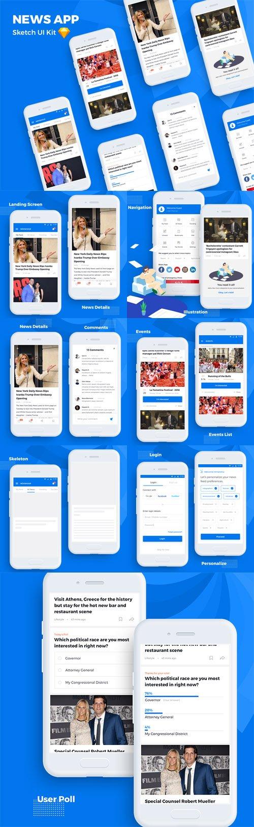News App - Sketch UI Kit