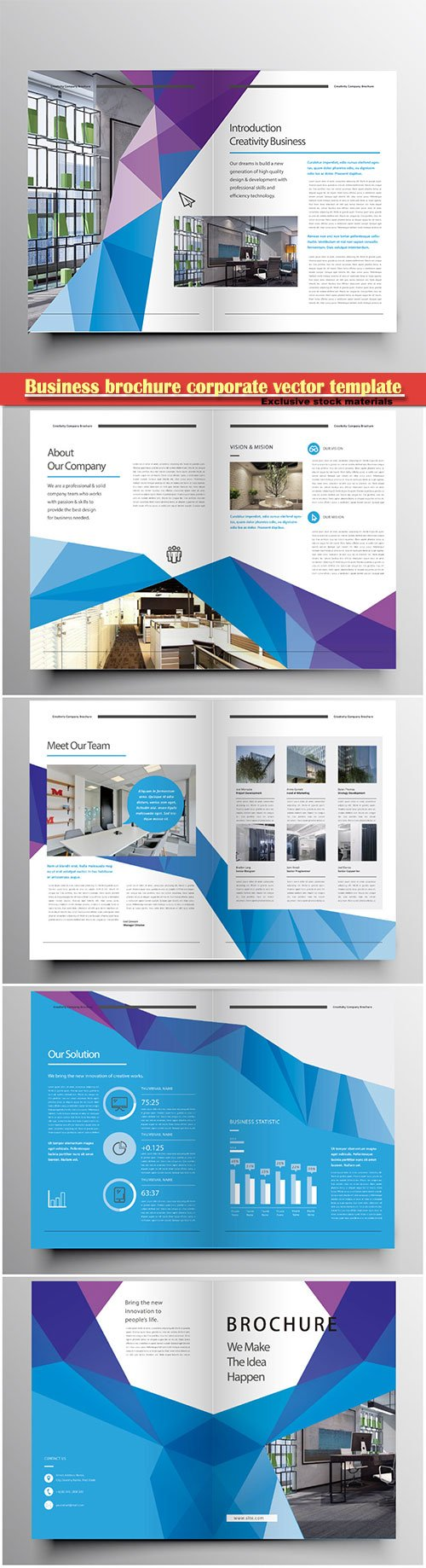 Business brochure corporate vector template, magazine flyer mockup # 54